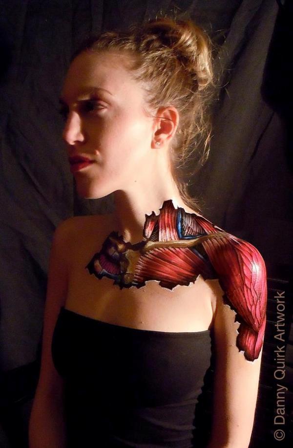 Danny Quirk art showing woman's shoulder anatomyer