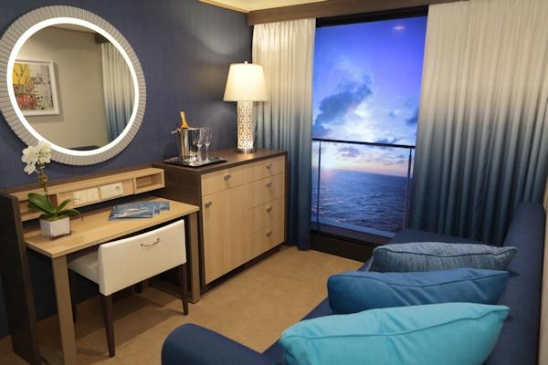 Virtual balcony in ship cabin