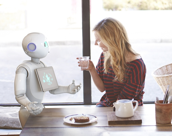 SoftBank's Pepper robot interacting at home