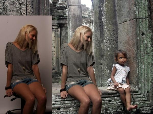 Zilla van der Born in manipulated vacation photo