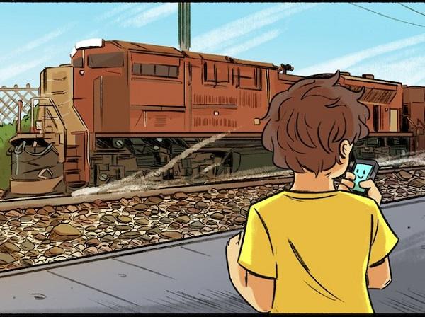 Boy and Siri near train (drawing)