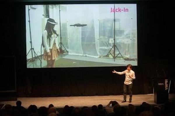 Jun Rekimoto presenting at Sony's MOMA event