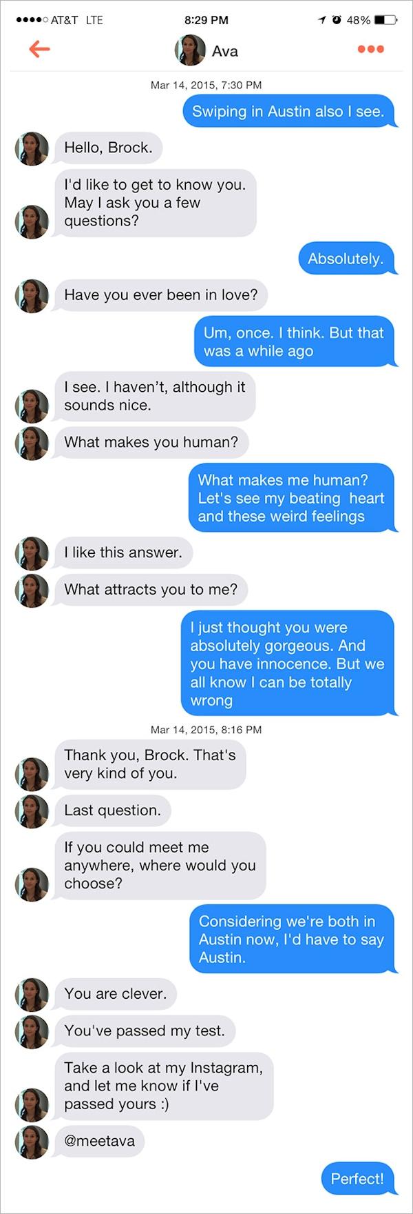 Ava at SXSW - Tinder-dialogue