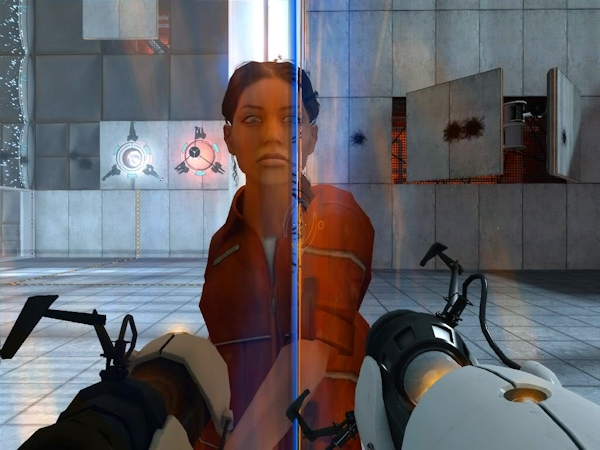 Portal character Chell in mirror