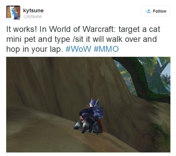 Virtual cat in WoW tweet
