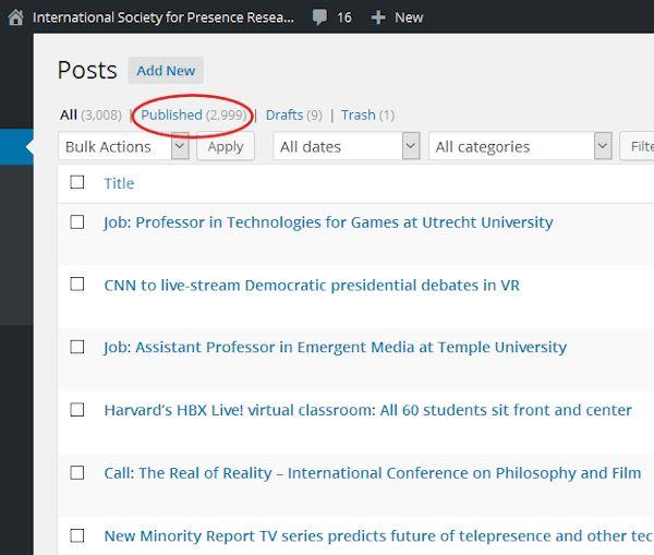 IPSR Presence News WordPress screen at 2,999 posts