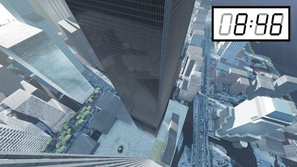 [08:46] 9/11 simulation screenshot (looking down from Tower)