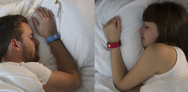 Pillow Talk wristbands worn by a long-distance couple