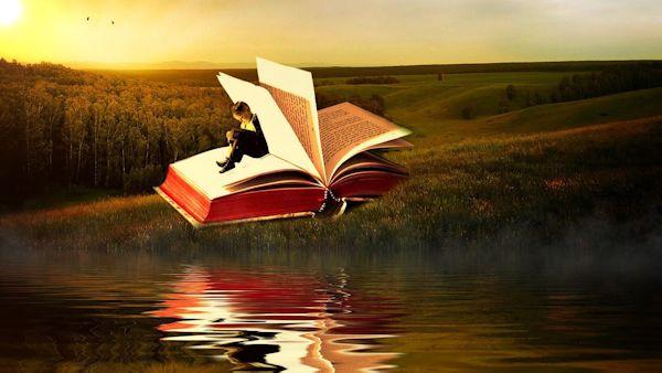 Boy inside storybook (art)