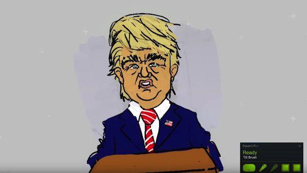 Tipatat Chennavasin's Trump/Hitler VR cartoon (screenshot)