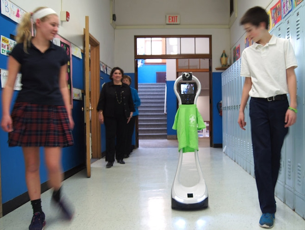 Hospital patient Cookie Topp attends school via VGo telepresence robot