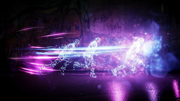 Art: People made up of particles run in abstract environment