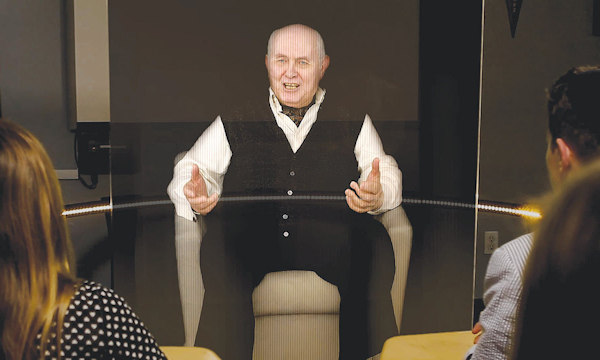 Hologram of Holocaust survivor Pinchas Gutter