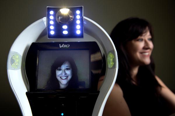 UCI's Veronica Newhart and a telepresence robot