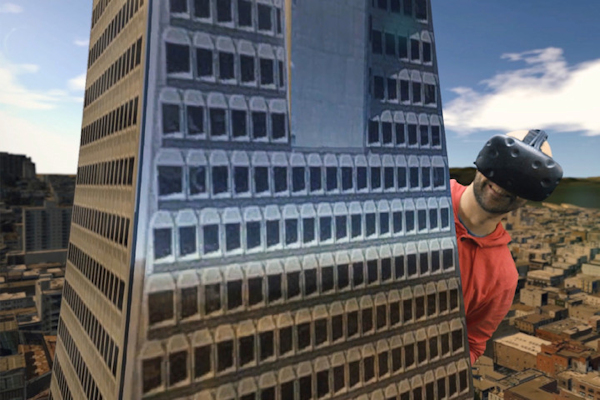 City VR screenshot - man in HMD is as big as building