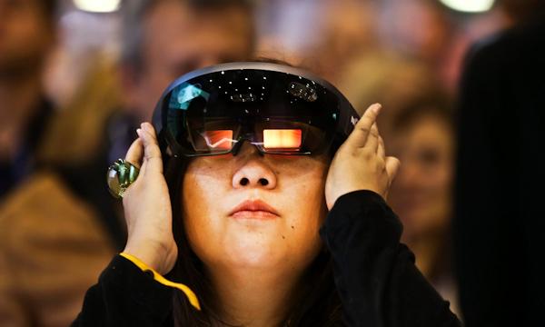 EEG-based interactions in VR (woman wearing headset)