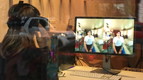 A woman watching Disfellowshipped: A VR Experience