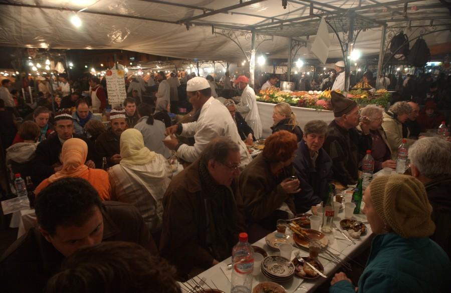 Djemaa el Fna, the night market, Marrakesh, Morocco, North Africa.  January 2008.