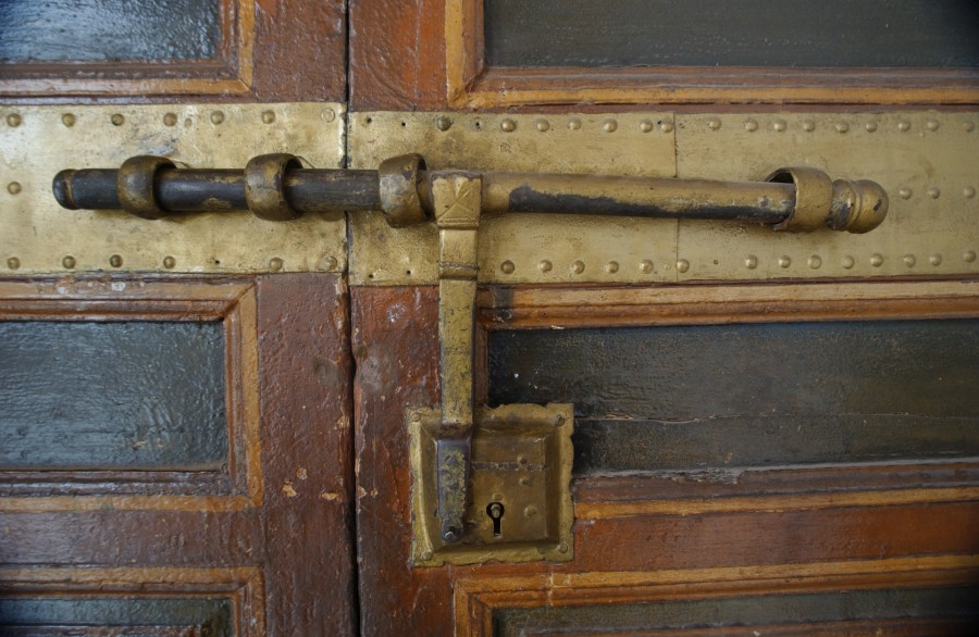 Door detail.  Marrakesh, Morocco, North Africa.  January 2008.