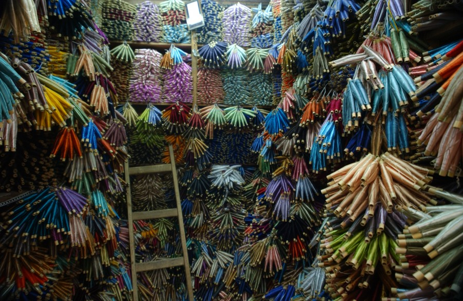 thread merchant�s wares the medina at fez morocco