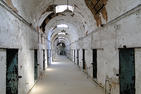Hallway at Eastern State Penitentiary today