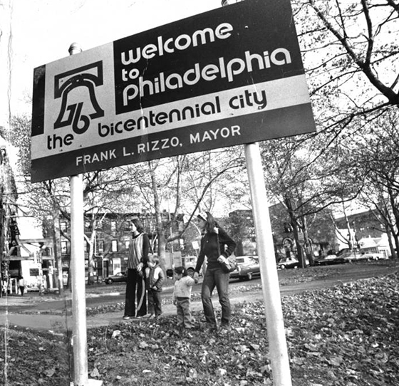"Sign that says ""Welcome to Philadelphia, the Bicentennial City"""
