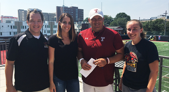 OwlSports Update producers Tracy Yatsko, Ben Otte, and Sarah Shields with Coach Collins